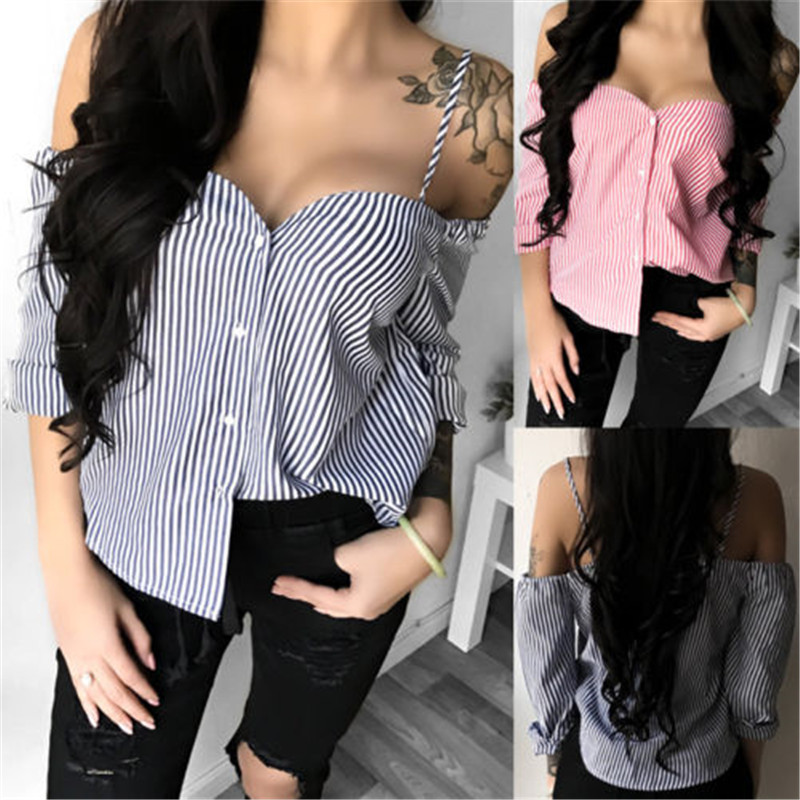 Fashion Women's Ladies Summer Long Sleeve Shirt Loose Casual Blouse Tops Sexy Striped V-Neck Shirt