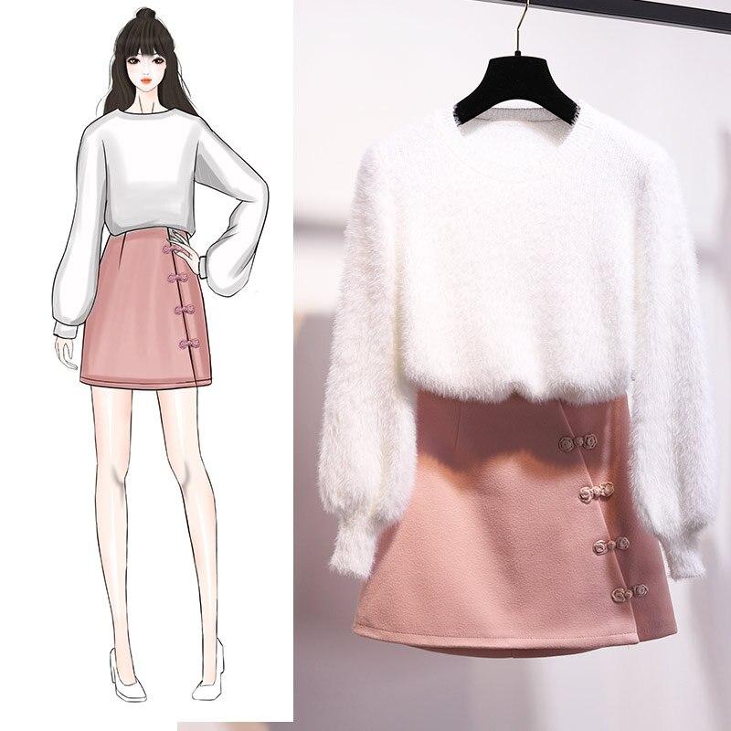 Pull jupe nouveau hiver tweed jupes deux pièces vêtements ensemble femmes tenue vestido pull tricots mode 2018 design costume