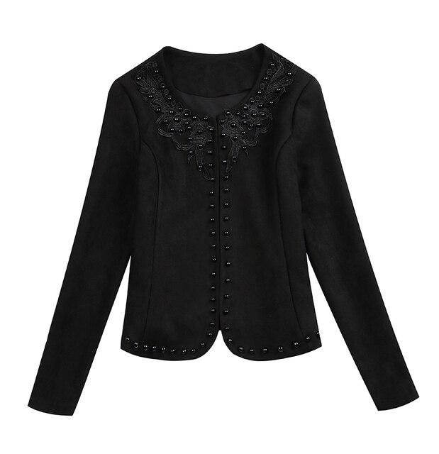 Fashion  3XL 4XL Black Women Jacket 2021 O Collar Coat Women Short Jacket Long Sleeve Womens Jackets And Coats A956 4