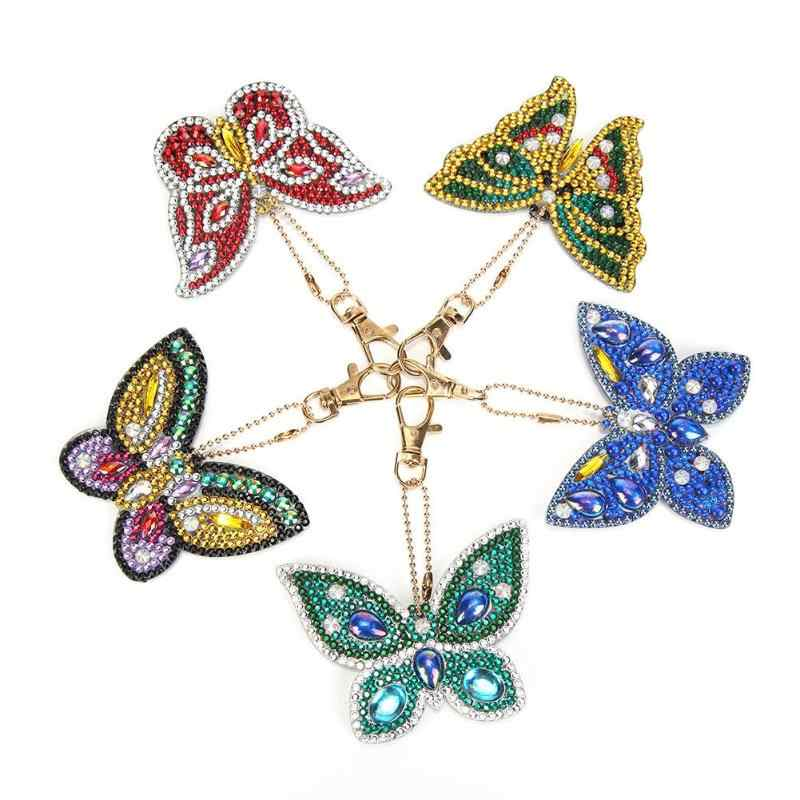 5pcs DIY Butterfly Full Drill Special Shaped Diamond Painting Keychain Gift Cross Stitch Embroidery Kit Bag Jewelry Decorations
