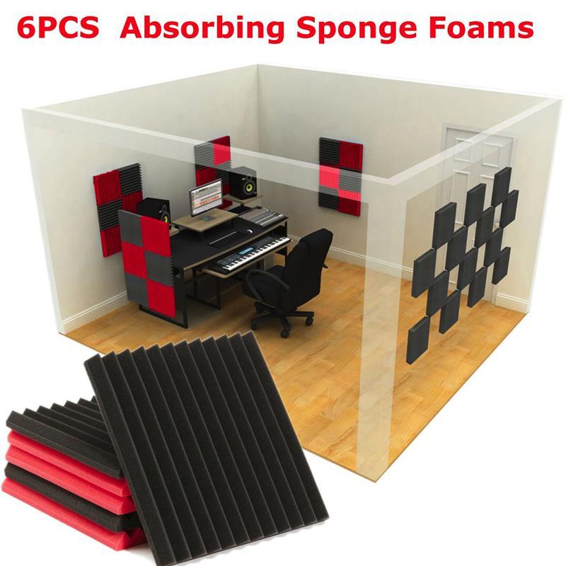 6pcs Red Black Soundproofing Foam Sound Absorbing Noise Sponge Foaming For KTV Acoustic Panels Studio Foam Wedges 30x30x2.5cm