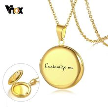 Vnox Personalize Round Locket Necklace for Women Stainless Steel Photo Frame Pendants Engraving Name Unique Valentine's Day Gift(China)