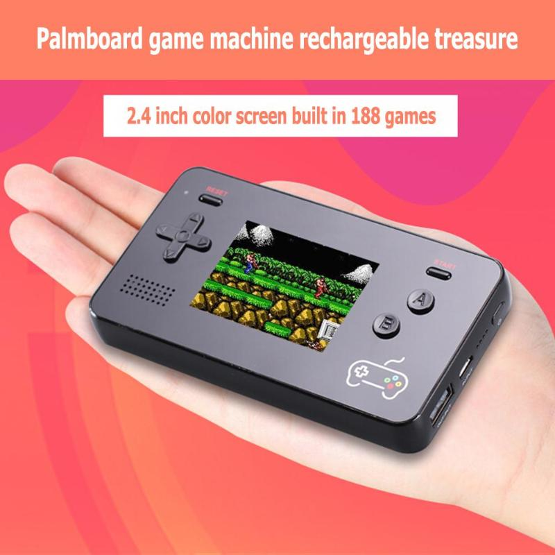 2.4inch Screen Display Handheld Game Player Built-in 188 Classic FC 8Bit Game Video Game Console 5000mA Powerbank for Smartphone
