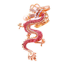 1pcs Dragon Rhinestone Keychai Charm Fashion Cute Purse Bag Pendant Decoration Keyfob Car Keyring Keychain Random Color(China)