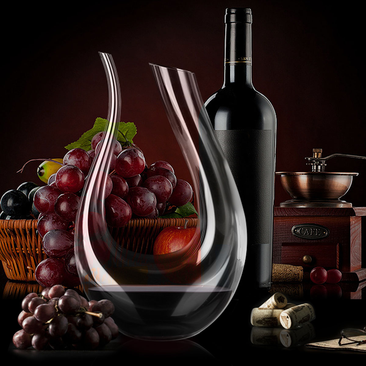 YKPuii 1500ML Big Decanter Handmade Crystal Red Wine Brandy Champagne Glasses Decanter Bottle Jug Pourer Aerator For Family Bar image