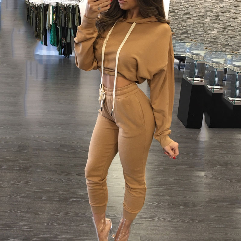 Autumn 2 Pieces Sets Tracksuit Women Hooded Long Sleeve Hoodies Sweatshirt Pants High Waist Workout  Fashion Fitness Suits