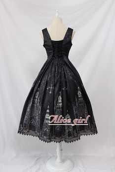 Gothic Lolita JSK Dress Church Printed Sleeveless Midi Party Dress by Alice Girl Limited stock