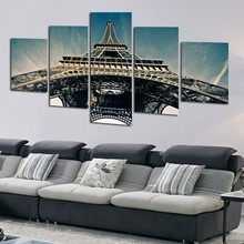 Wall Art For Living Room Modular Picture 5 Panel Eiffel Tower View Framed Abstract Modern Home Decor Canvas Print Painting