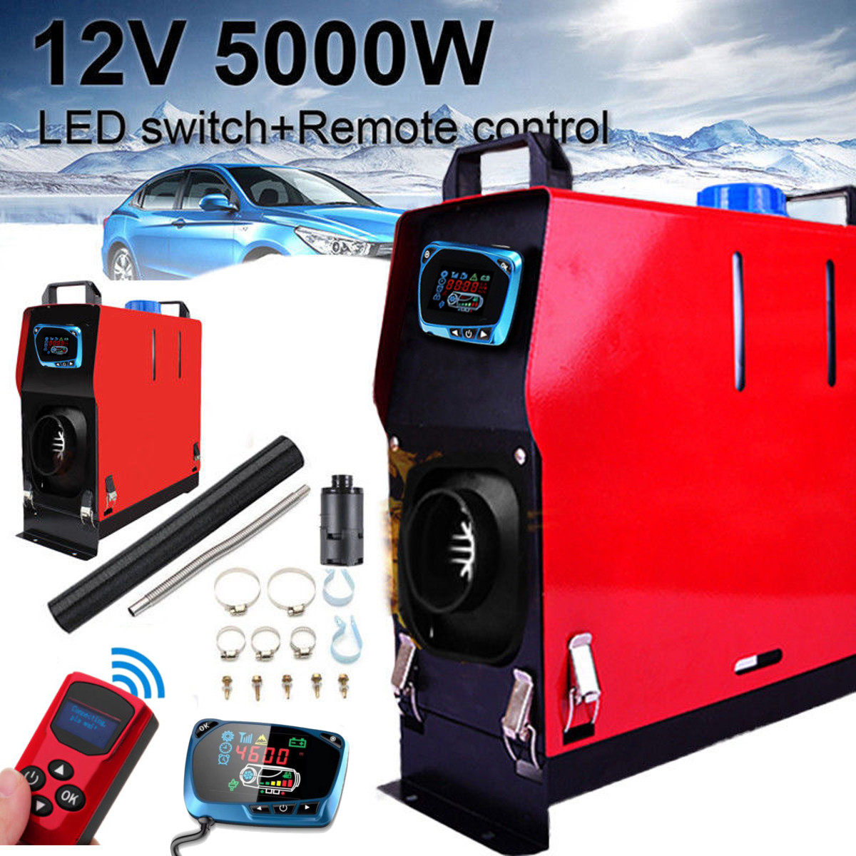5000 W Air diesels Chauffe-5KW 12 V Un Trou radiateur de voiture Pour Les Camions En Autocaravane Bateaux Bus + LCD interrupteur à clé + télécommande
