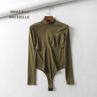 BRADELY MICHELLE Sexy long sleeve slim o neck knitted bodysuits women club outwear jumpsuits for fashion women 2018 cotton tops