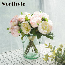 Modern Peony Camellia Bouquet Suit 2pcs*Peony Camellia Bouquet* 1 Pcs Glass Vase Wedding Decoration Artificial Potted Flowers