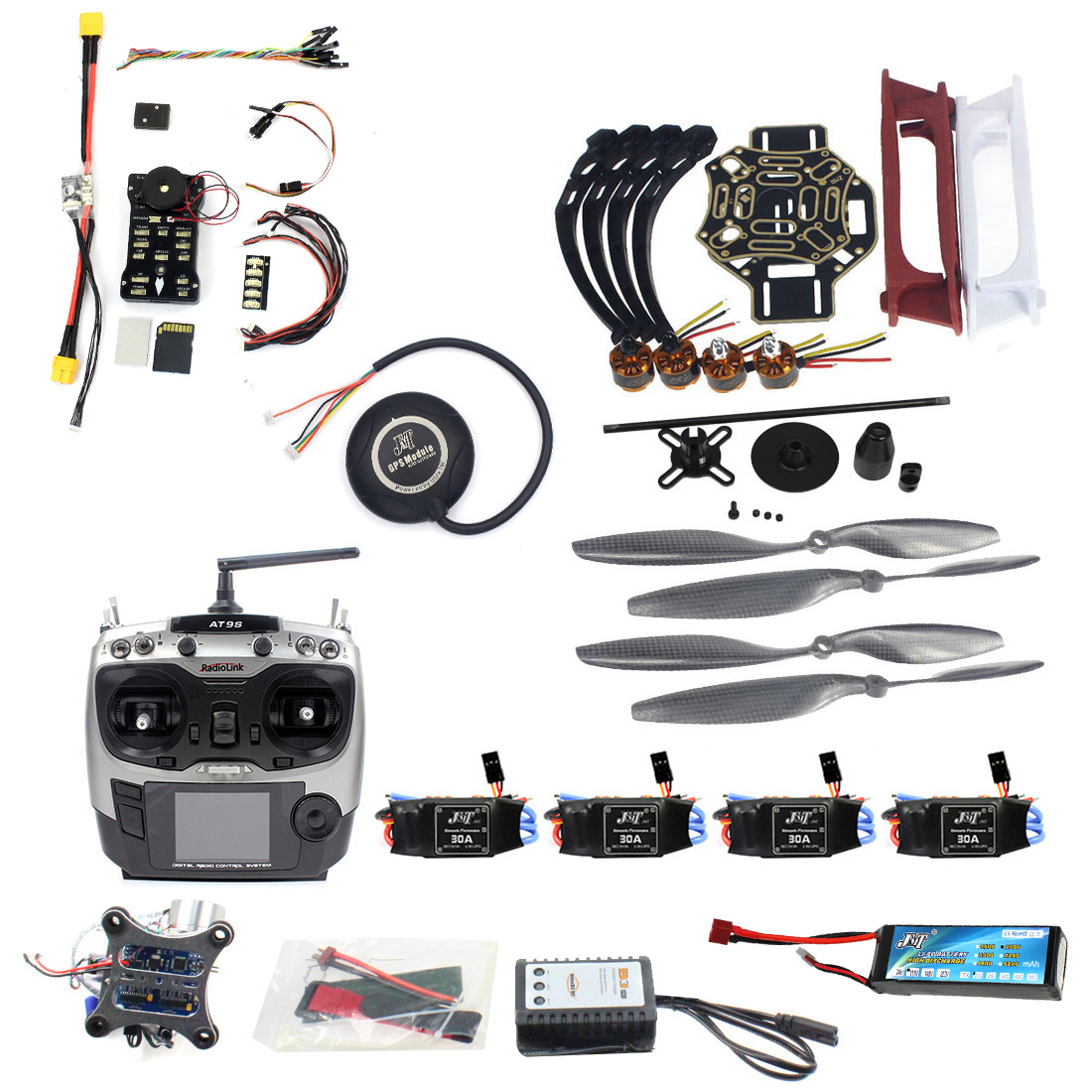 DIY RC FPV Drone Kit 4-akse Quadcopter med F450 450 Ramme PIXHAWK PXI PX4 ​​Flight Control 920KV Motor GPS AT9S Transmitter RX