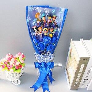 Image 4 - 13 style Anime One Piece figurka z bukietem kwiatów zabawki Luffy Nami Roronoa Zoro Model kwiaty ślub walentynki prezent