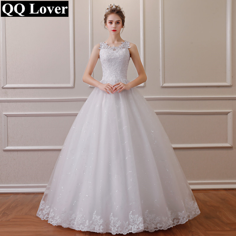 QQ Lover 2020 Lace Embroidered Beading Vintage Sweet Straps Wedding Dress Yarn Puff