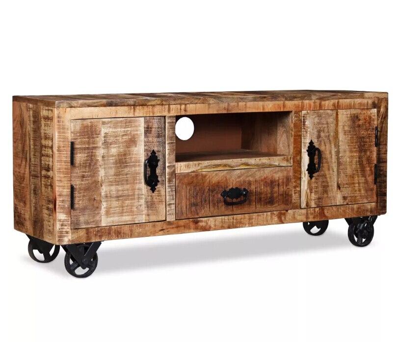 VidaXL meuble TV style industriel brut bois de manguier meuble de salon meuble Tv organisador commode 120x30x50 cm