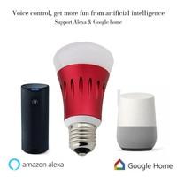 play bulb E27 Wifi bulb google home alexa sound control led lights 7W rgbw led dj lights color smart phone App control
