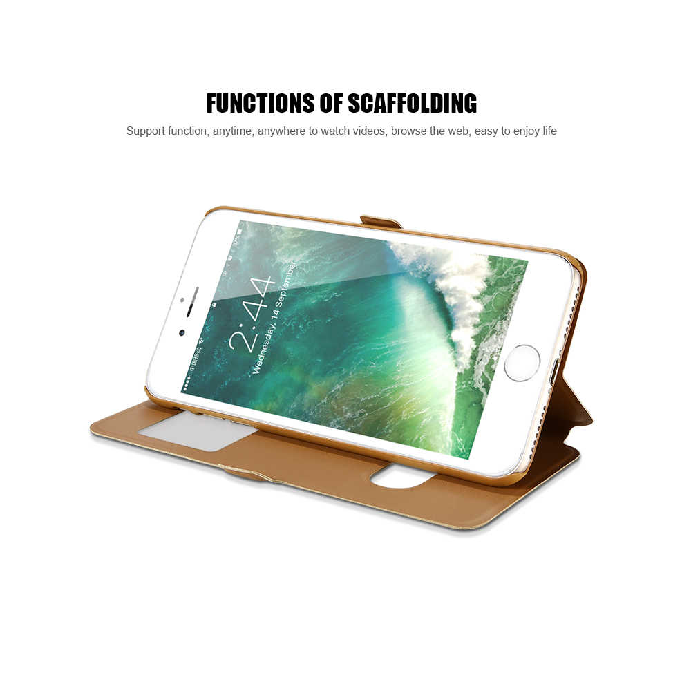 KISSCASE Magnetic Flip PU Leather Case For iPhone 6s 6 Plus 7 8 Plus Waterproof Back Cases For iPhone 5s 5 SE Stand Holder Case
