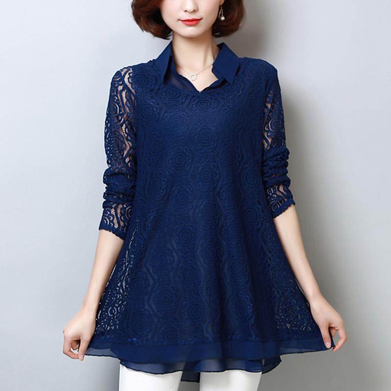 Plus Size 5XL Lace   Blouse   Fashion Women's   Blouses     Shirt   2019 Spring New Chiffon Loose Long Sleeve Two Sets   Shirts   Ladies 908H