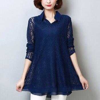 4fd85b307565 Talla grande 5XL Blusa de encaje moda blusas de mujer camisa 2019 ...