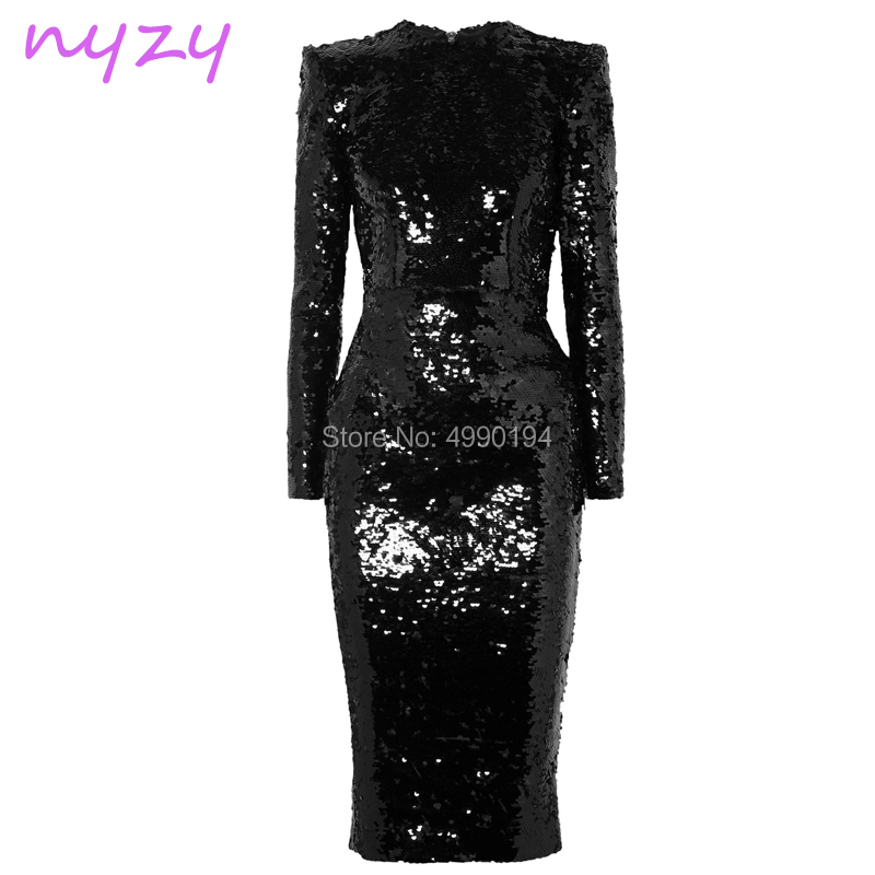 NYZY E41 Elegant Black   Evening     Dress   Sequin Gown Long Sleeves Tea Length Mermaid Formal   Dress   Wedding Party   Dress   2019