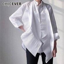 CHICEVER 2020 夏カジュアルな白色の固体パッチワークドレープアップリケスタンド襟長袖ルーズプラススリム女性トップ衣類