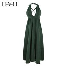 цена на HYH HAOYIHUI Simple commuter V-neck sexy front hem slit dress