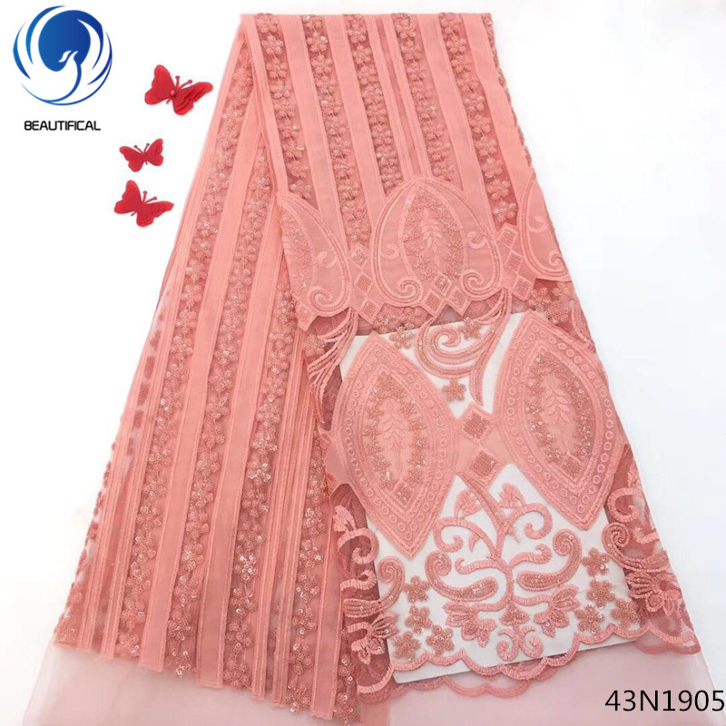 Beautifical African Lace Fabric 2018 High Quality French Velvet Lace Fabric Sequin Lace Fabric For Wedding Party 5 Yards 43N19Beautifical African Lace Fabric 2018 High Quality French Velvet Lace Fabric Sequin Lace Fabric For Wedding Party 5 Yards 43N19