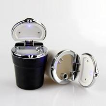 цена на Car Ashtray With LED Light Portable Cigarette Smoke Car Smokeless Smoke Cup Holder Storage Auto Accessories