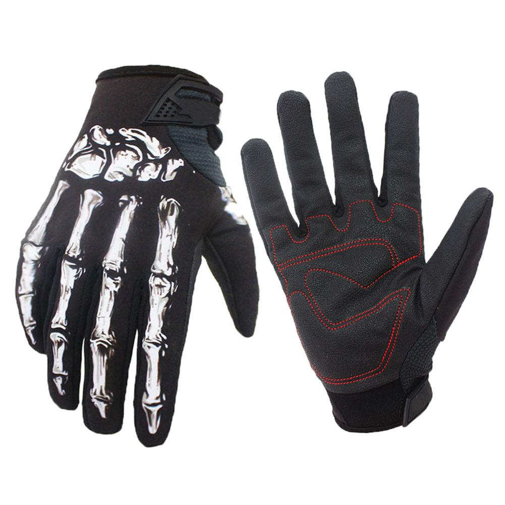 1 Pair Men Winter Warm Bike Cycling Skull Skeleton Windproof Full Finger Gloves
