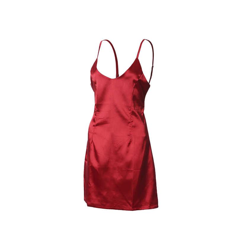 0a8606008bff ... Sexy Women Backless Strappy Short satin dress female vogue sleeveless  solid slim dresses vestidos night club ...