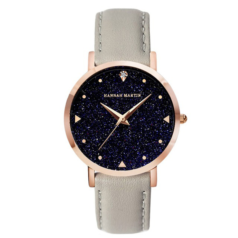 Hannah Martin Movement Night Flash Starry Sky Dial Stainless Steel Waterproof Creative Women Watches Diamond Elegant Ladies Qu