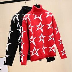 Бренд Рождество 2019 зимние женские красные черные с принтом звезды вязаные свитера пуловер Корейская женская одежда водолазка Роскошный дж...