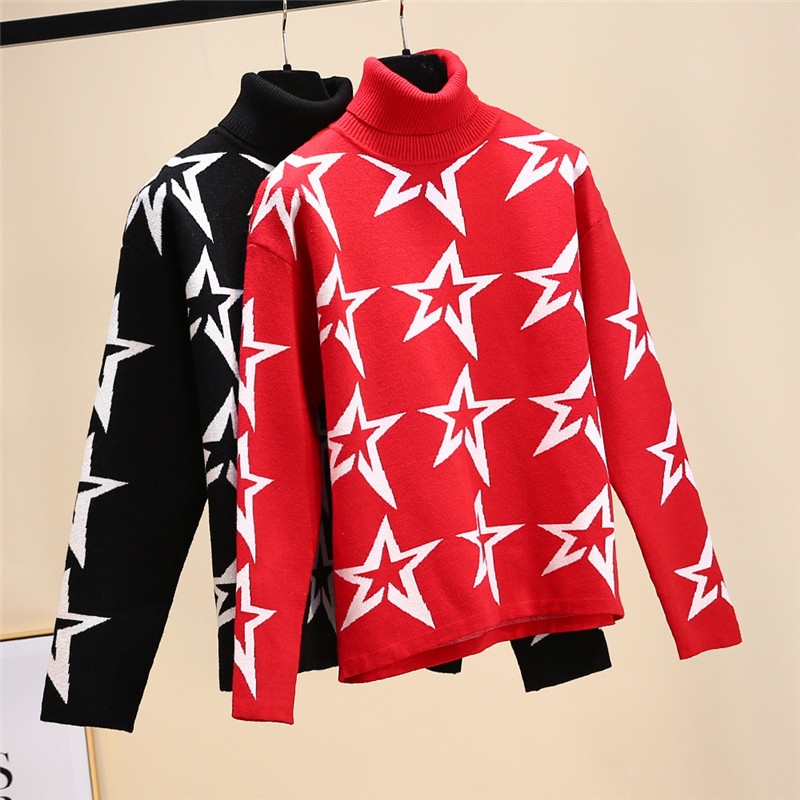 Brand Christmas 2019 Winter Women Red Black Star Print Knitted Sweaters Pullover Korean Female Clothes Turtleneck Luxury Jumper