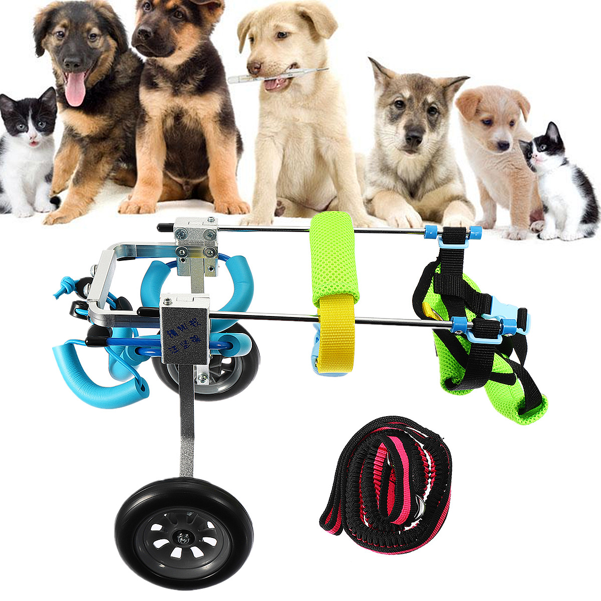 Pet Wheelchair Walk Traction Rope Cart Kit Light Portable Accessories Adjusted For Handicapped Cat Dog Doggie Puppy Taken Apart image