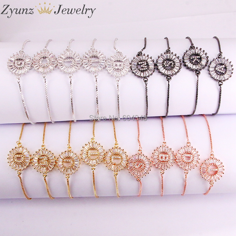 26 Strands 26 Initial Letters Bracelets Bangles For Women Girl Adjustable Chains Crystal CZ Stones Bracelet