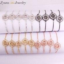 26 Strands 26 Initial Letters Bracelets & Bangles For Women Girl Adjustable Chains Crystal CZ Stones Bracelet