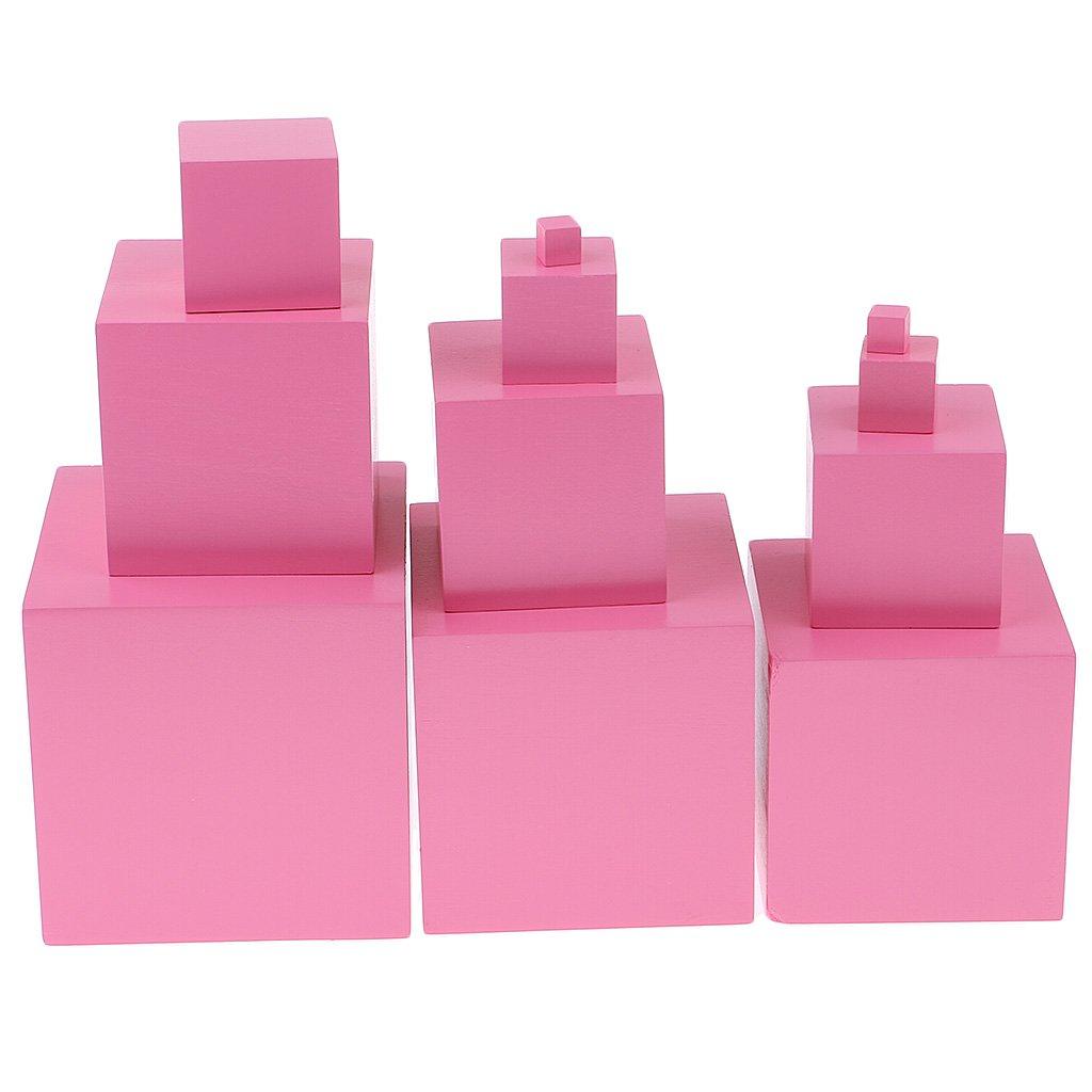 Montessori L'éducation Jouets Bâtiment Cubes blocs d'empilage En Bois Rose Tour D'apprentissage Préscolaire cadeau de noël pour Bébé Enfant