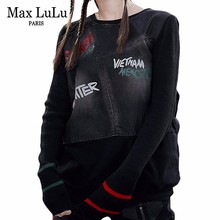 Max LuLu Famous Brand Ladies Punk Knitted Tops Tee Shirts Wo