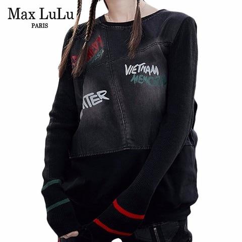 Max LuLu Famous Brand Ladies Punk Knitted Tops Tee Shirts Womens Denim Long Sleeve T-shirt Vintage Ladies Harajuku Winter Tshirt Pakistan