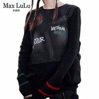 Max LuLu Famous Brand Ladies Punk Knitted Tops Tee Shirts Womens Denim Long Sleeve T shirt Vintage Ladies Harajuku Winter Tshirt