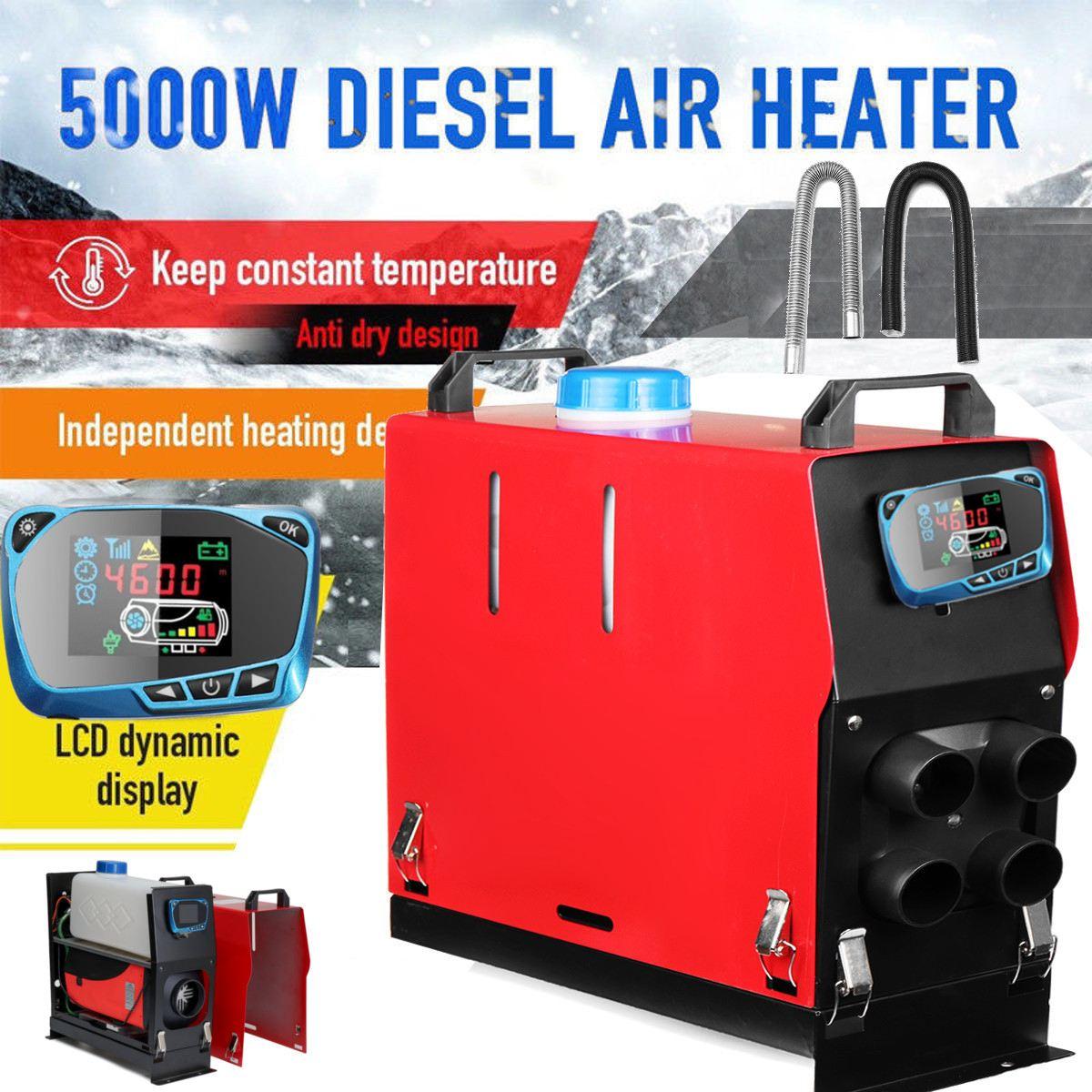 Tout En Un 5000 W Air diesels Chauffe-5KW 12 V Chauffage De la Voiture Pour Camions Moteur-Maisons Bateaux Bus + date LCD Interrupteur à clé