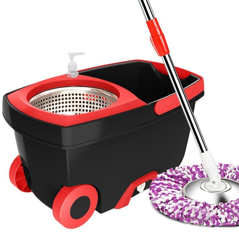 Portable Magic Mop Bucket Stainless Steel Double Drive Hand Pressure Rotating Mop Household Spinning Cleaning Mop