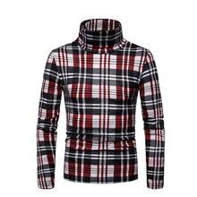 Men's Winter Warm Cotton High Neck Pullover Jumper Sweater Tops Turtleneck Plaid Long Sleeve Bottoming Coats Men Outwear