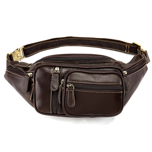 High Quality Chest Messenger Bag For Man 8336 Leather Travel Waist Pack Fanny Pack Men Leather Belt Waist Bag Phone Pouch