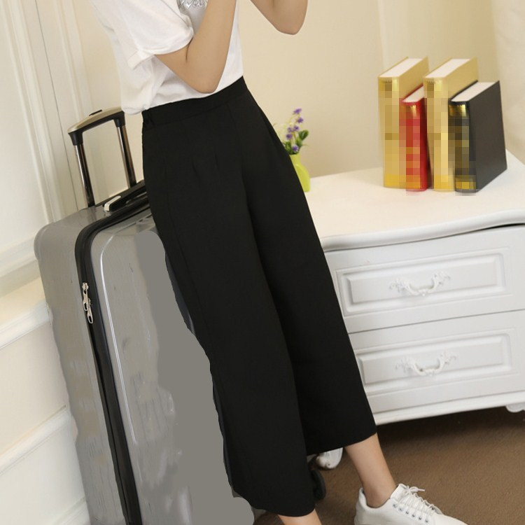 Hot Sale Fashion Female Casual   Wide     Leg     Pants   Solid Ladies Summer Black Loose High Waist Ankle-Length   Pants