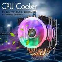 6 Heatpipe Dual Tower CPU Cooler for Intel 775/1150/1151/1155/1156/1366 All for AMD 4Pin RGB LED Cooling Fan Quiet Heatsink