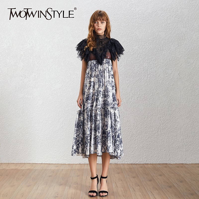 TWOTWINSTYLE Summer Print Mesh Patchwork Women Dress Stand Short Sleeve High Waist Hit Color Midi Dresses Female Fashion 2019