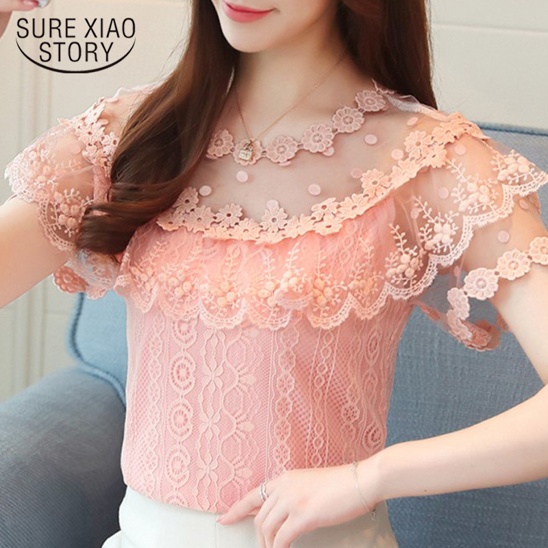 new summer fashion lace 2018 blouse shirt short sleeved blouses women clothing slim sweet lady style solid women tops 0482 30