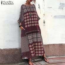 2019 ZANZEA Summer Sundress Women Vintage Style Printed Long Maxi Dress Vestidos Cotton Linen Kaftan Robe Femme Bohemian Dresses