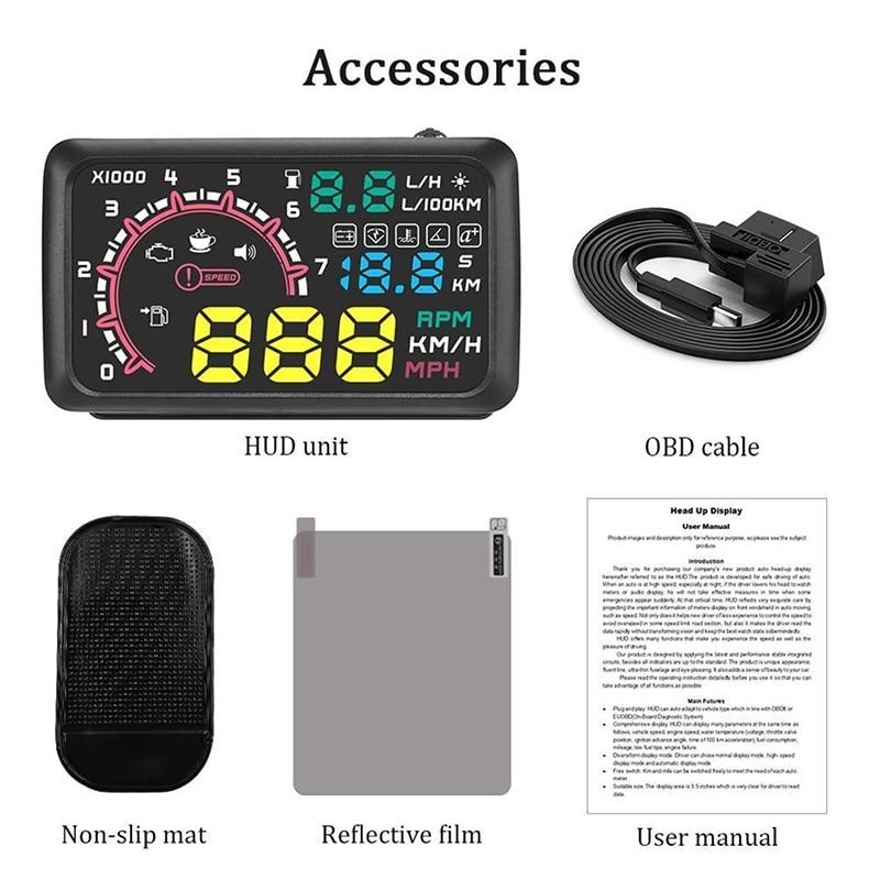 Car OBD2 HUD Head Up Display Vehicle Fuel Consumption Speed Warning System Kit *